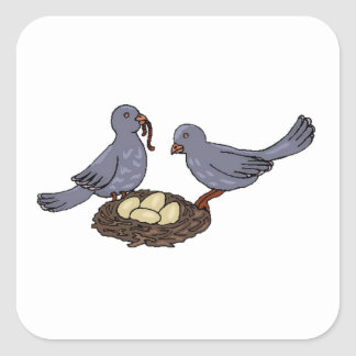 Birds With Worms Square Sticker