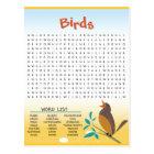 Birds Word Search Activity Card