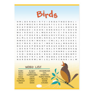 Birds Word Search Activity Card Postcard