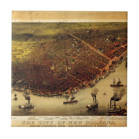 Birdseye map of New Orleans (1885) Small Square Tile