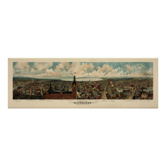 Birdseye Panorama of Milwaukee (1898) Reprint Poster