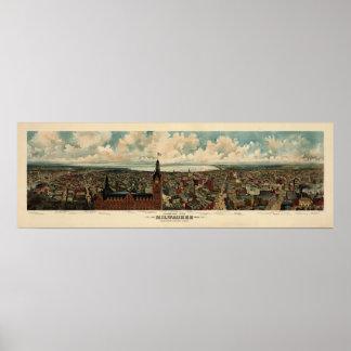 Birdseye Panorama of Milwaukee (1898) Reprint Poster