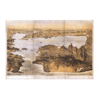 Birdseye View of San Francisco California (1876) Stretched Canvas Print