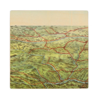 Birdseyes View Great Plains Wood Coaster