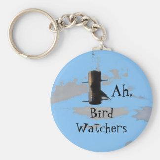 birdsky, BirdWatchers, Ah, Basic Round Button Key Ring