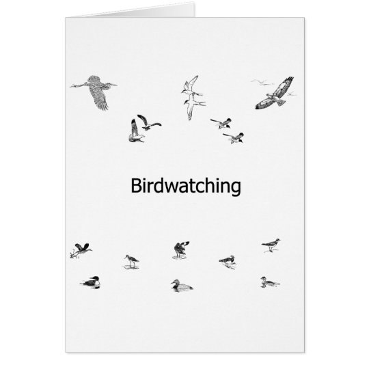 Birdwatching Line Art Card