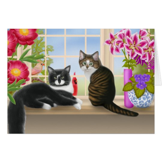 Birdwatching with Felix and Pansy Card