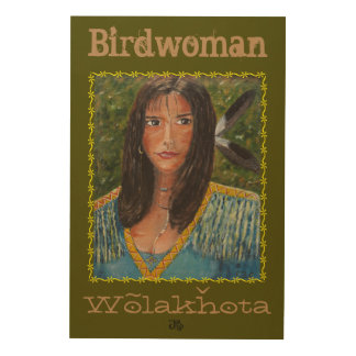 """Birdwoman"" Wooden Canvas Wood Wall Art"