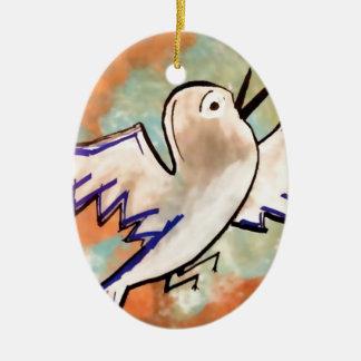 birdy ceramic oval decoration