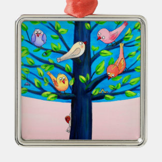Birdy Tree | Joyful Silver-Colored Square Decoration