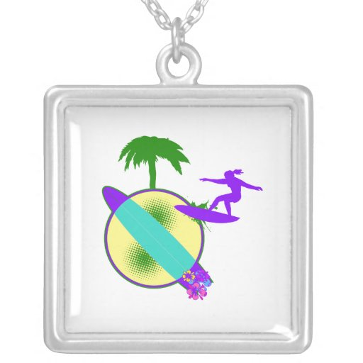 birght pastel surfer girl square pendant necklace