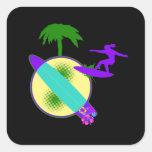 birght pastel surfer girl stickers