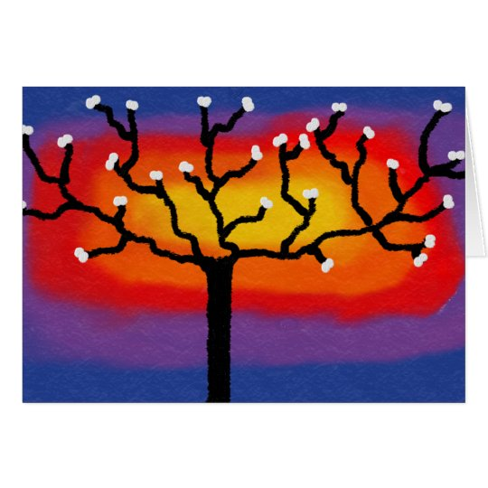Birghtly coloured tree card