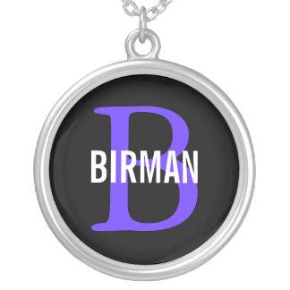 Birman Breed Monogram Design Round Pendant Necklace