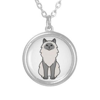 Birman Cat Cartoon Round Pendant Necklace