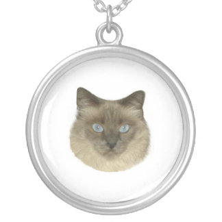 Birman Cat Portrait Round Pendant Necklace