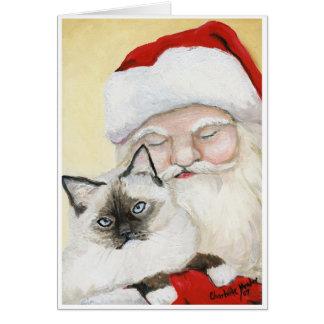"""""""Birman Cat & Santa"""" Art  Christmas Card"""