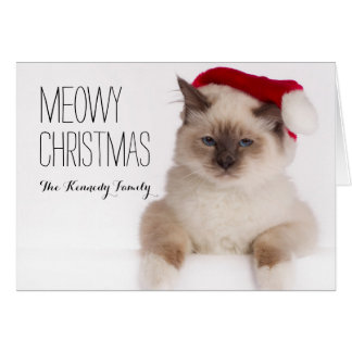 Birman Cat Santa Card