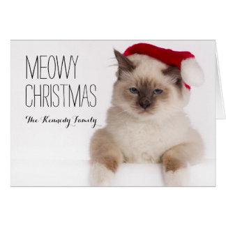Birman Cat Santa Greeting Card