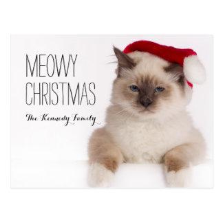 Birman Cat Santa Postcard
