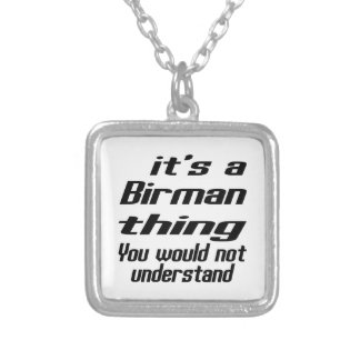 Birman thing designs square pendant necklace