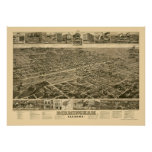Birmingham, AL Panoramic Map - 1885 Poster