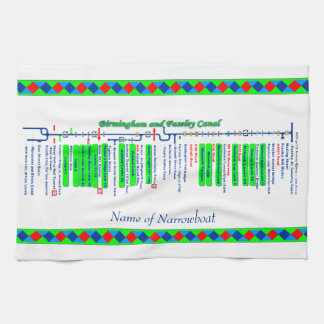 Birmingham and Faseley Canal UK Waterways Green Tea Towels