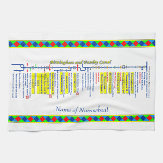 Birmingham and Faseley Canal UK Waterways Yellow Hand Towel