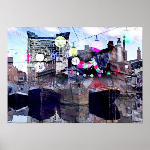 Birmingham city centre canals urban art collage posters