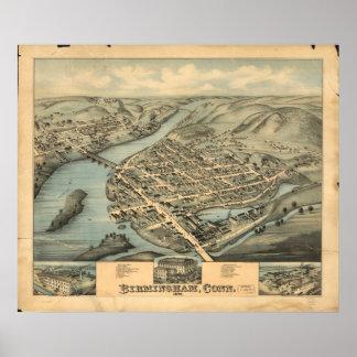 Birmingham Connecticut 1876 Antique Panoramic Map Print