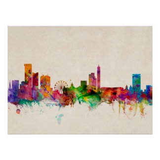Birmingham England Skyline Cityscape Poster