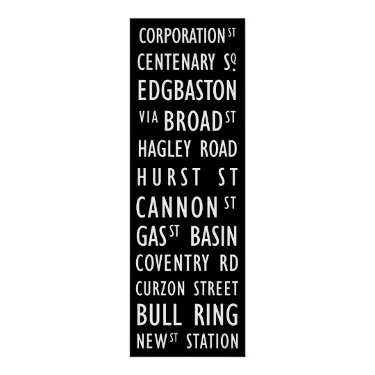 Birmingham Vintage Transit Scroll Poster