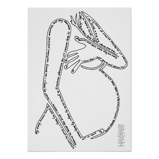 Birth Affirmations Line Art Poster