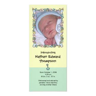 Birth Announcement: Baby Basics Border 10 Cm X 24 Cm Invitation Card