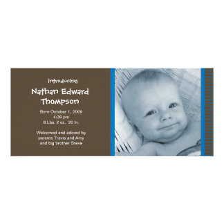 Birth Announcement - Blue and Brown Pinstripes