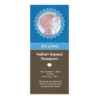 Birth Announcement - Blue & Brown Pinstripes