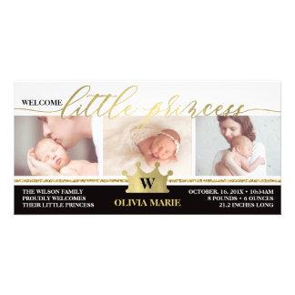 Birth Announcement, Little Princess, Faux Foil Card