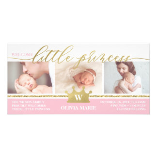 Birth Announcement, Little Princess, Faux Foil Card