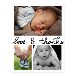 Birth Announcement Love And Thanks Three Photos Postcard