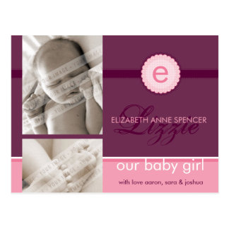 BIRTH ANNOUNCEMENT :: monogram2 - girl Postcard