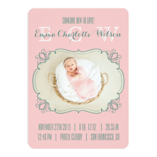 Birth Announcement Newborn Baby Photo Monogram