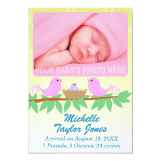 Birth Announcement Photo Card for Girls