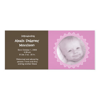 Birth Announcement - Pink and Brown ruffle frame