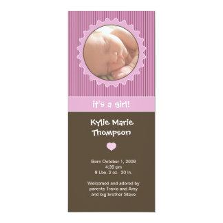Birth Announcement - Pink & brown pinstripes