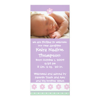 Birth Announcement - Purple/Green/Pink Flowers