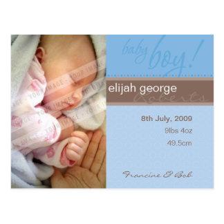 BIRTH ANNOUNCEMENT :: sheer joy - boy Postcard