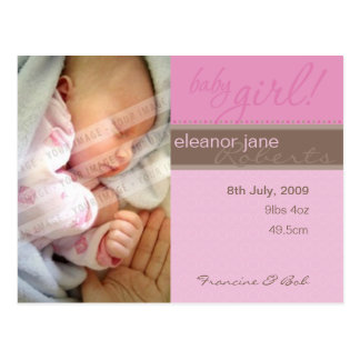 BIRTH ANNOUNCEMENT :: sheer joy - girl Postcard