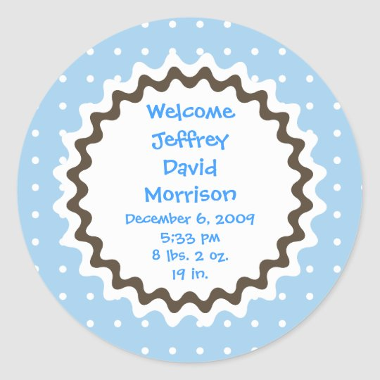 Birth Announcement Sticker - Blue, Brown and White
