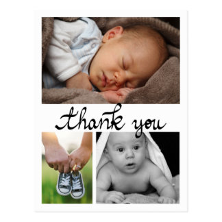 Birth Announcement Thank You Modern Three Photos Postcard