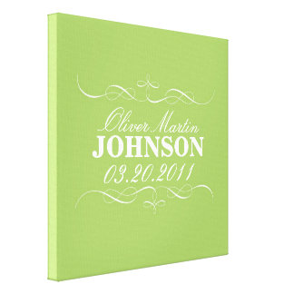 Birth Announcement Wall Art Stretched Canvas Prints